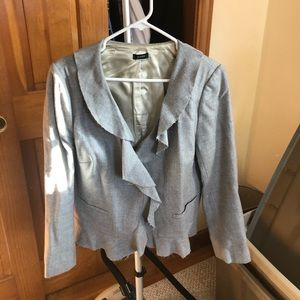 JCREW blazer grey wool ruffle
